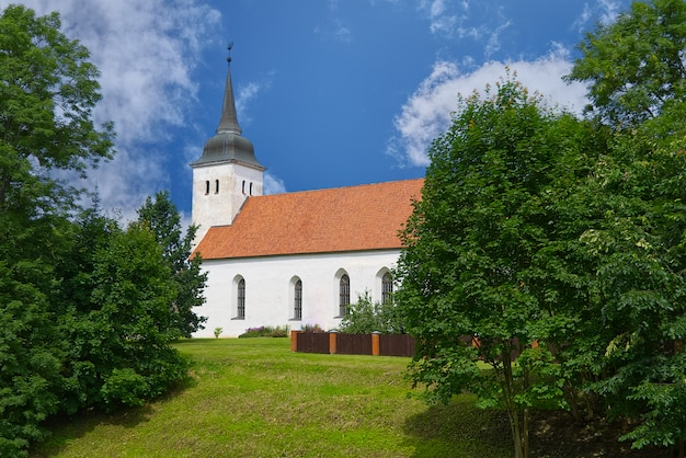 Jana w viljandi w estonii. zbudowany w połowie xvii wieku. kościół w miły letni dzień.