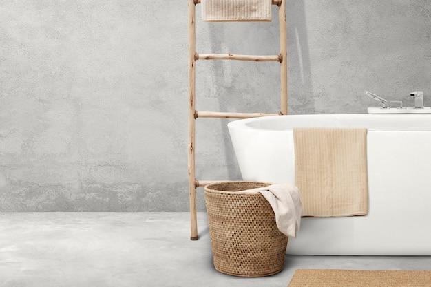 Japandi projekt wnętrza łazienki z drewnianymi meblami
