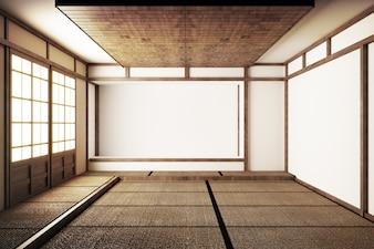 Japoński wyświetlacz Podłogi pokoju i maty tatami .3D Rende