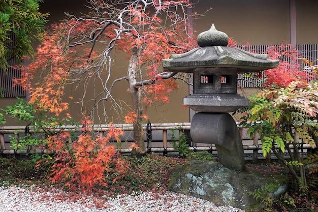 Japońska latarnia i jesienny klon, japonia, tokio