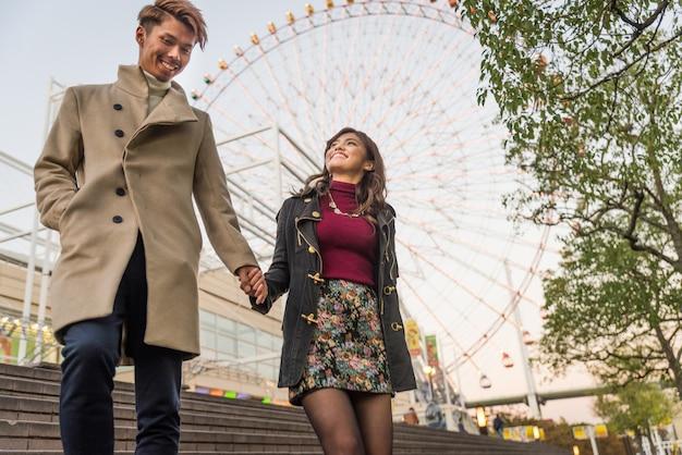 Japońska para kochanków spotyka się w osace