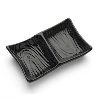 Japoński ceramiczny pusty talerz kwadratowy do ciemnego sosu do zanurzania na białym tle