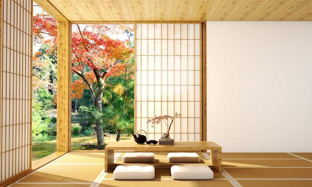 Japoński projekt wnętrza salonu