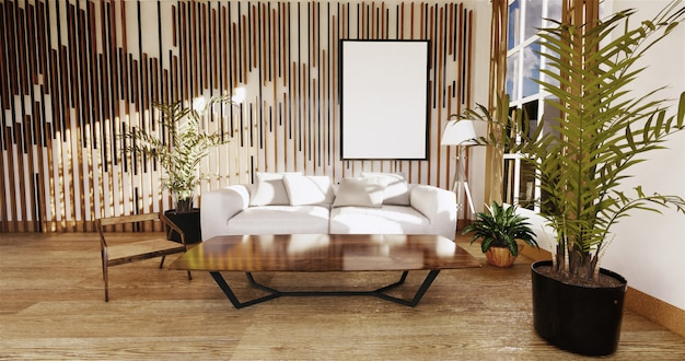 Japoński salon z białą ścianą