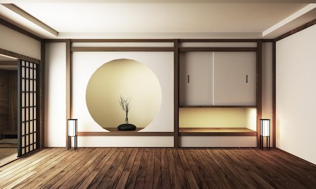 Japoński wystrój wnętrz, nowoczesny salon. 3d ilustracja, 3d rendering