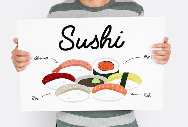Japońskie jedzenie sushi sos sojowy