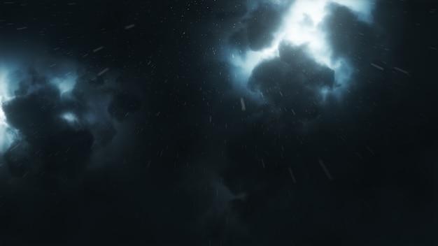 Jaskrawo błyszcząca błyskawica przebija się przez gęste burzowe chmury w nocy