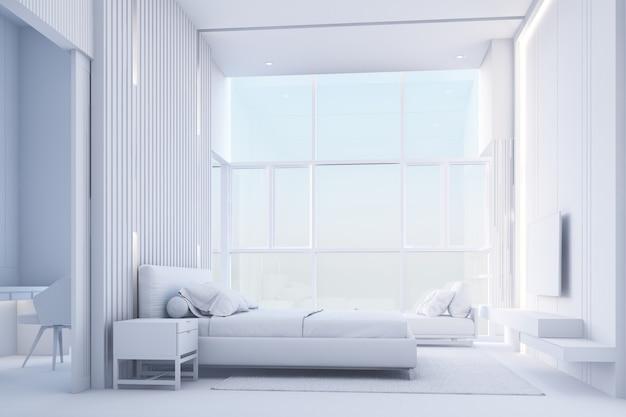 Jasna i przytulna nowoczesna sypialnia z zagłówkiem garderoby ozdobionym drewnianymi listwami i dużym oknem