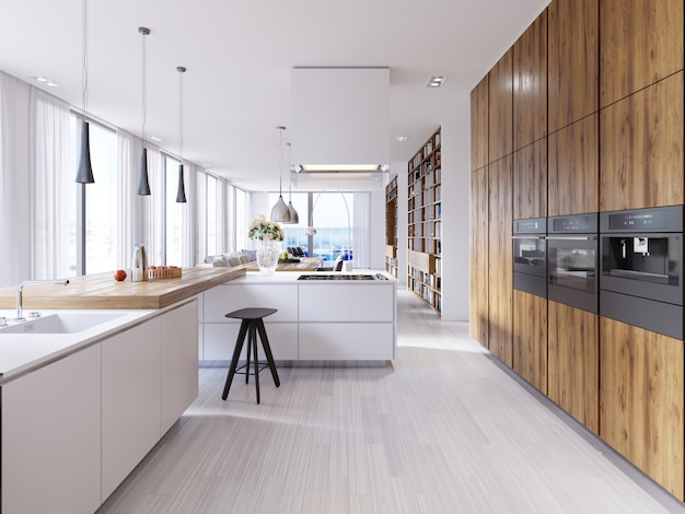 Jasna kuchnia w nowoczesnym stylu z widokiem na salon