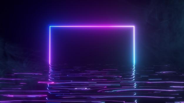 Jasna neonowa ramka mieni się neonowym widmem światła w wodzie. tło dymne. ilustracja 3d