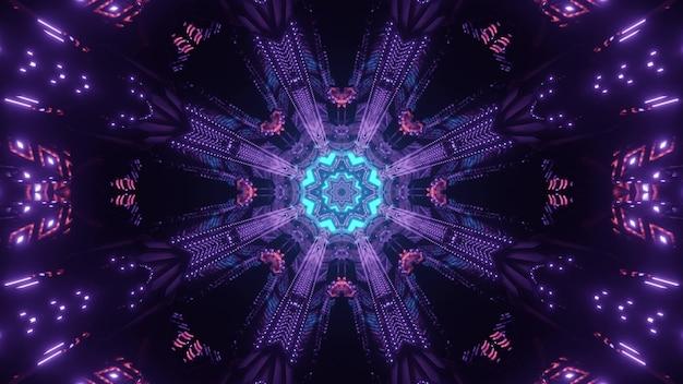 Jasne 3d ilustracji abstrakcyjne wizualne tło z symetrycznym geometrycznym okrągłym ornamentem w ciemności ze śladami światła neonowego tworzącymi złudzenie optyczne futurystycznego tunelu kosmicznego science fiction