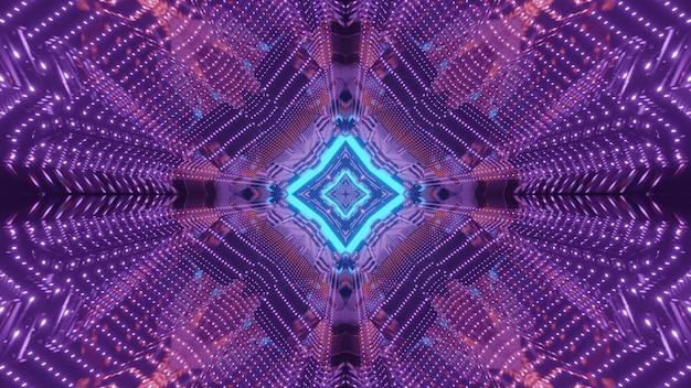Jasne 3d ilustracji sztuki abstrakcyjnej wizualne tło tunelu science fiction z geometrycznymi kształtami oświetlonego kolorowymi neonami