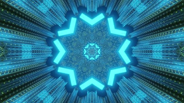 Jasne, abstrakcyjne, futurystyczne tło techniczne z perspektywy tunelu z błyszczącymi neonowymi trójkątami tworzącymi ramkę w kształcie gwiazdy z odbiciami światła