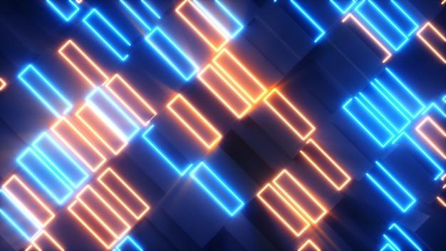 Jasne abstrakcyjne prostokąty z neonowymi elementami