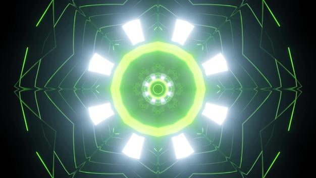 Jasne błyszczące reflektory i cienkie zielone neonowe linie tworzące okrągły ornament futurystycznego tunelu o strukturze geometrycznej jako abstrakcyjne tło science fiction na ilustracji 3d