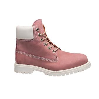 Jasne damskie skórzane buty ze sznurowadłami do codziennego noszenia, izolowane dodatki odzieżowe na białej powierzchni