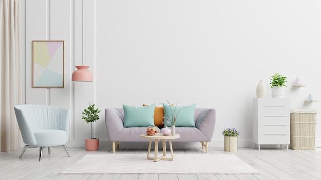 Jasne i przytulne nowoczesne wnętrze salonu mają sofę i lampę z białą ścianą.