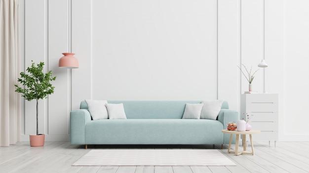 Jasne i przytulne nowoczesne wnętrze salonu mają sofę i lampę z białą ścianą