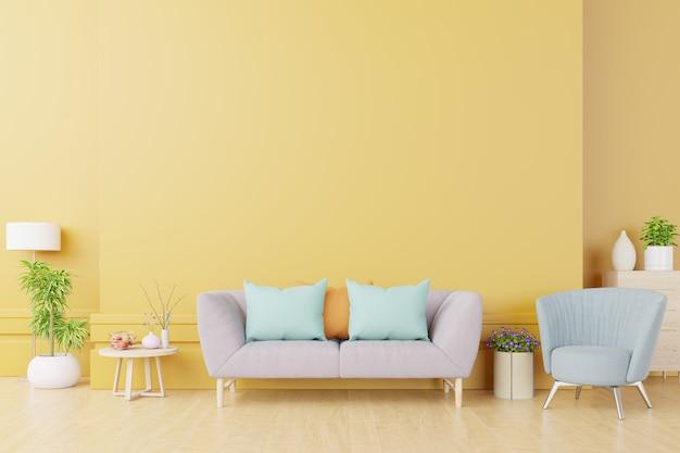 Jasne i przytulne nowoczesne wnętrze salonu mają sofę i lampę z żółtą ścianą
