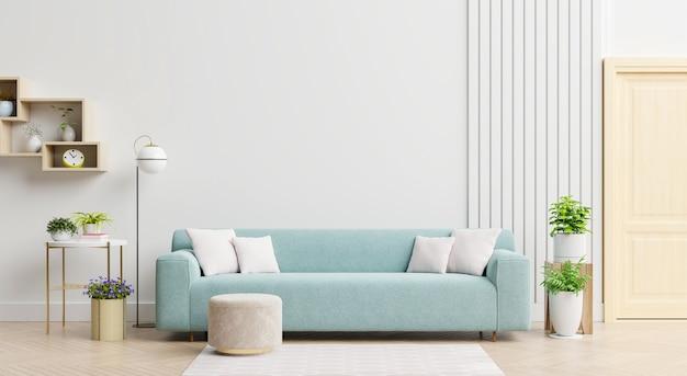 Jasne i przytulne nowoczesne wnętrze salonu posiada sofę i lampę na białym tle ściennym. renderowanie 3d
