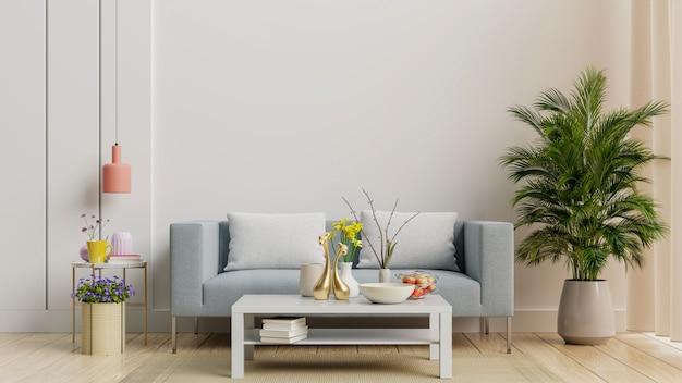 Jasne i przytulne nowoczesne wnętrze salonu z sofą i lampą