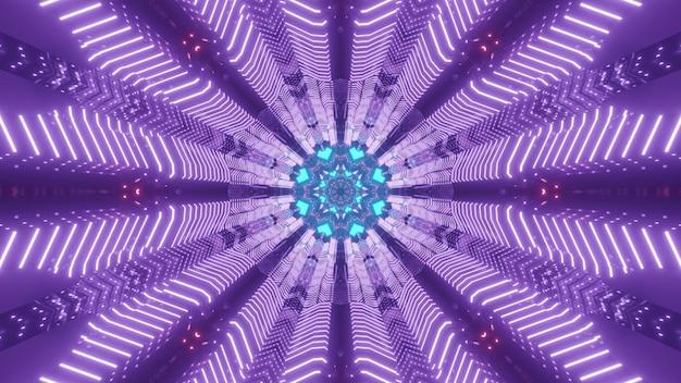 Jasne, kolorowe 3d ilustracji abstrakcyjna sztuka wizualne tło z symetrycznymi liniami neonowymi tworzącymi okrągłą ramę fantastycznego tunelu science fiction