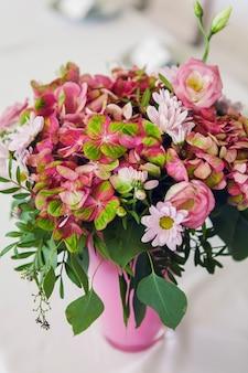 Jasne kwiaty hortensji weselnej w doniczce