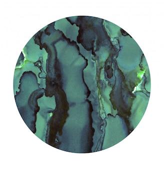 Jasne miejsce akwarela. malowane turkusowe koło. abstrakcjonistyczna tekstura odizolowywająca na bielu. dekoracja malarska.