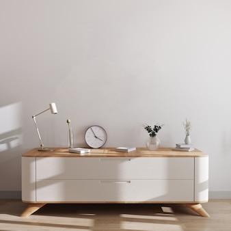 Jasne, nowoczesne tło z białą ścianą i białą drewnianą komodą oraz stylowym wystrojem. skandynawa styl, wewnętrzny makieta, 3d rendering