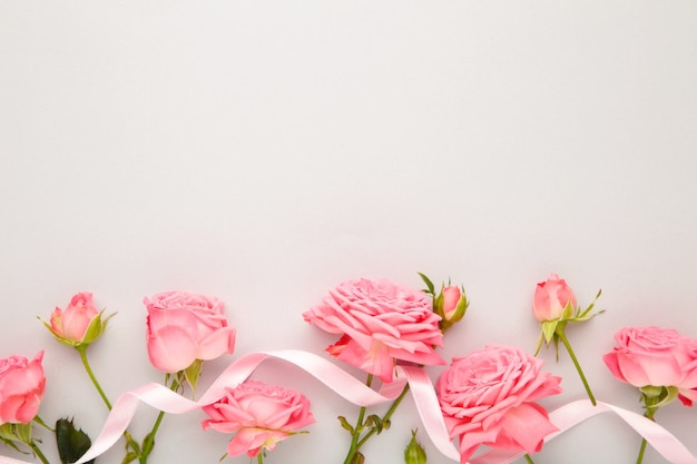 Jasne różowe róże ze wstążką na niebieskim tle. koncepcja wiosny. widok z góry