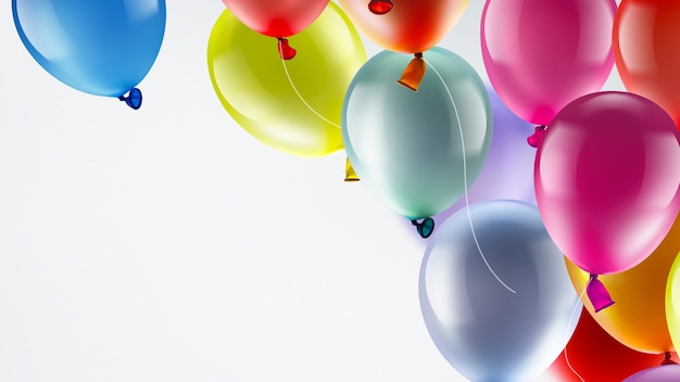 Jasne świąteczne tło z jasnymi kolorowymi balonami