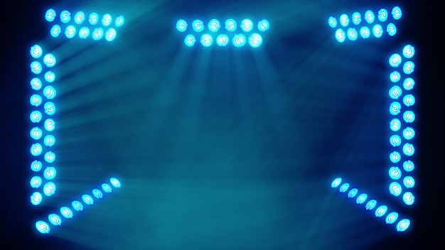 Jasne światła sceniczne migające na niebiesko w miejscu kopiowania tekstu