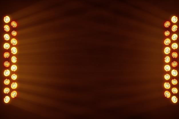 Jasne światła sceniczne migające w pomarańczowym miejscu dla miejsca kopiowania tekstu