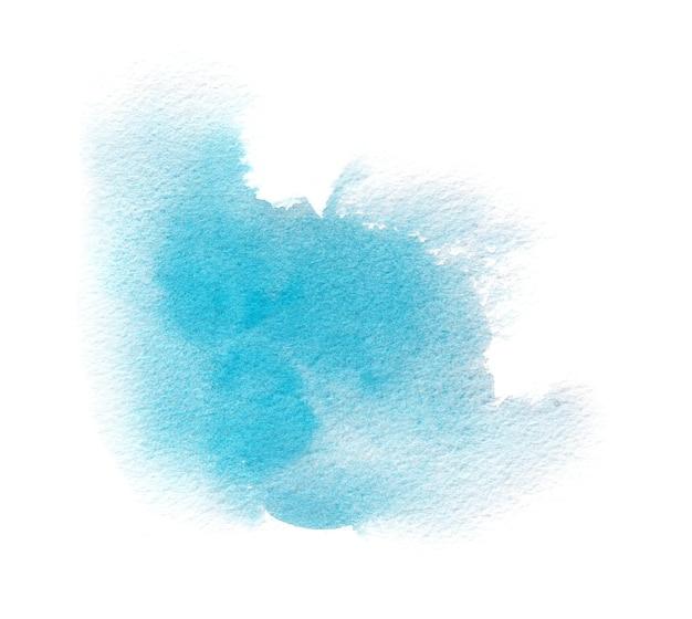 Jasnoniebieska plama akwareli tekstury z myciem akwarelowym, pociągnięciami pędzla
