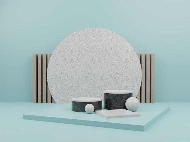 Jasnoniebieski geometryczny kształt z marmurowym podium do prezentacji produktów