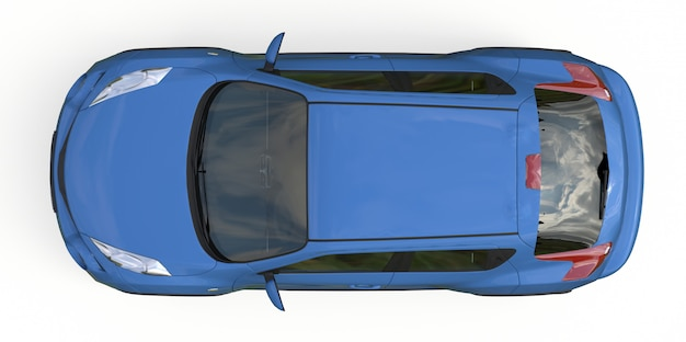 Jasnoniebieski subkompaktowy crossover suv. renderowania 3d.