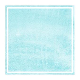 Jasnoniebieskie ręcznie rysowane akwarela prostokątna ramka tekstura tło z plamami