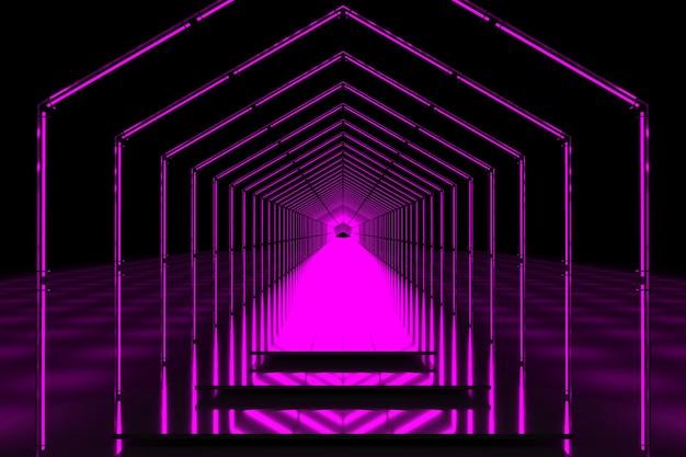 Jasnoróżowy ciemny portal 3d na podium z neonówkami
