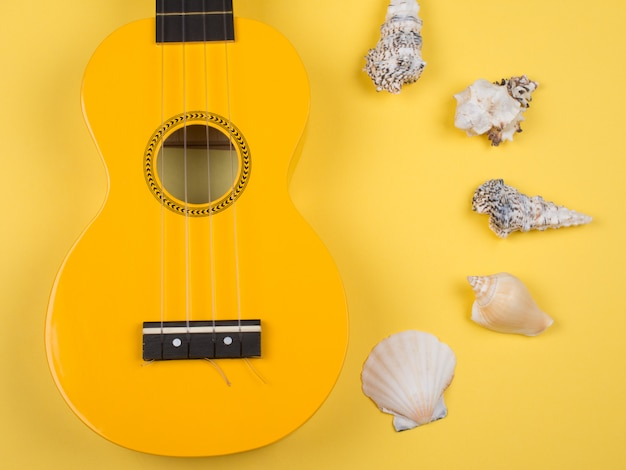 Jasnożółta gitara ukulele i muszle