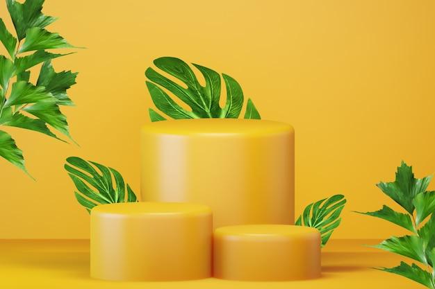 Jasnożółte podium z zielonymi liśćmi do promocji produktu. minimalistyczna nowoczesna pusta przestrzeń, renderowanie 3d