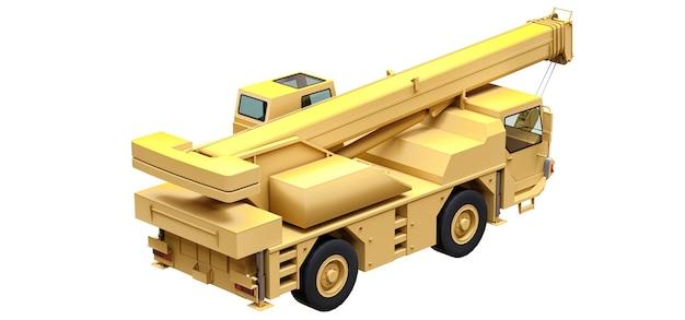 Jasnożółty dźwig samojezdny. trójwymiarowa ilustracja. renderowanie 3d.