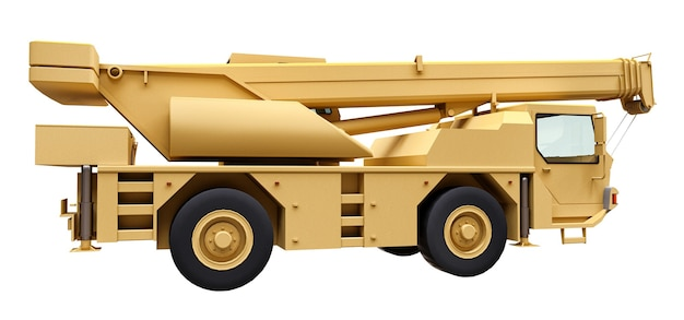 Jasnożółty żuraw samojezdny. trójwymiarowa ilustracja. renderowania 3d.