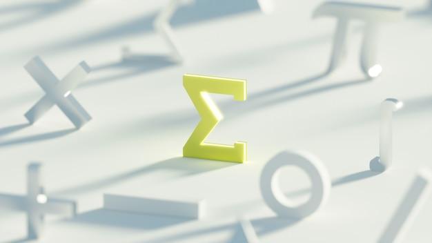 Jasny jasnożółty symbol sigma matematyki