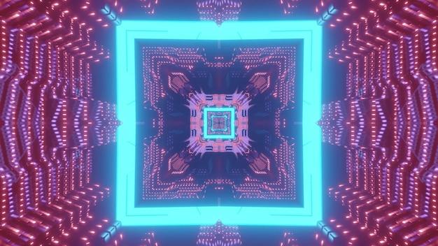 Jasny neonowy niebieski kwadratowy wzór tworzący futurystyczny korytarz science fiction w światłach 3d ilustracji
