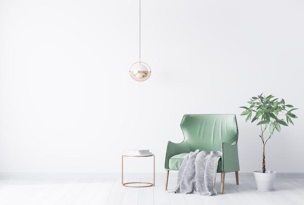 Jasny nowoczesny salon z zielonym fotelem i zieloną rośliną