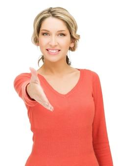 Jasny obraz kobiety z otwartą dłonią gotową do uścisku dłoni