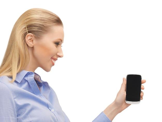 Jasny obraz kobiety z telefonem komórkowym