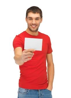 Jasny Obraz Przystojnego Mężczyzny Z Kartą Uwaga. Premium Zdjęcia