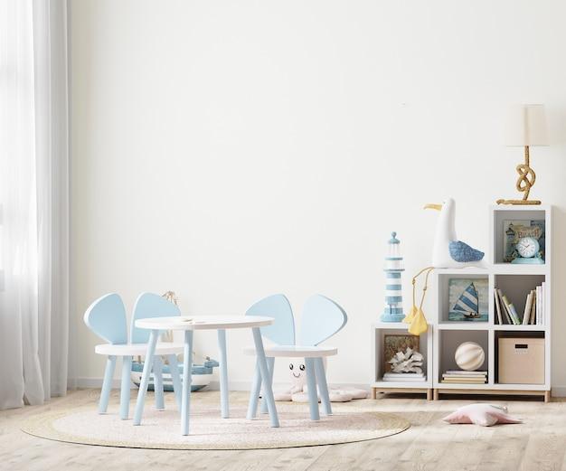 Jasny pokój dziecięcy ze stołem dla dzieci i półkami w pobliżu okna, meble dla dzieci, pusta ściana pokoju dziecięcego, renderowanie 3d