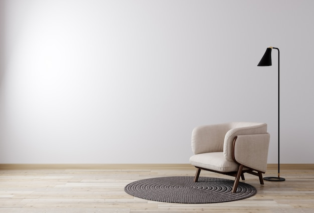 Jasny pokój z białą ścianą i modermowymi meblami w stylu skandynawskim do makiety. salon do makiety. renderowania 3d